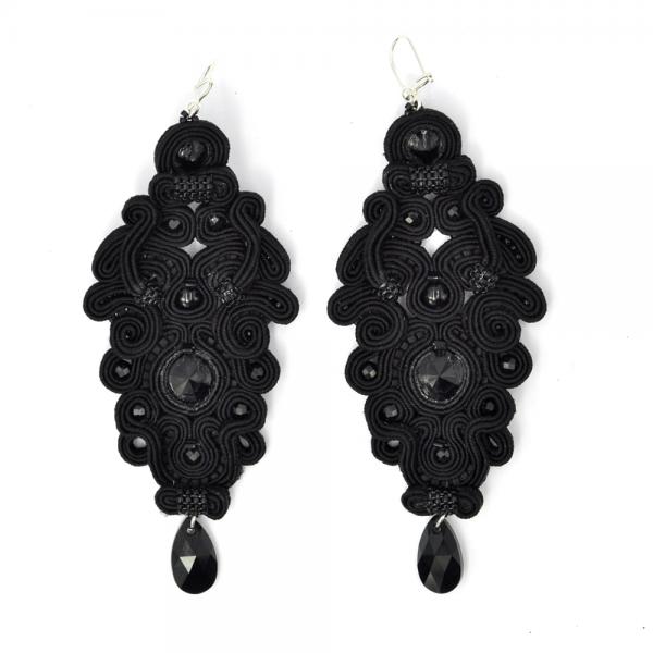 Kolczyki sutasz długie black PEONY | Leśna Pracownia Biżuterii Ewa Wronka Eva Sutasz