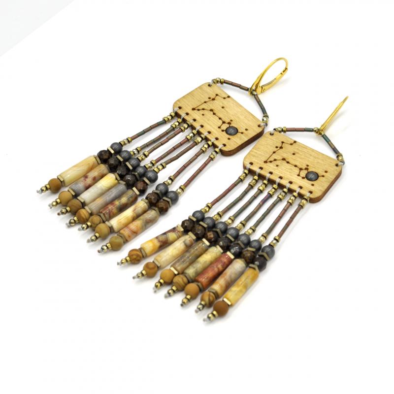 Kolczyki z bronzytem, jaspisem obrazkowym, agatem, hematytem ZODIAC - jasny dąb