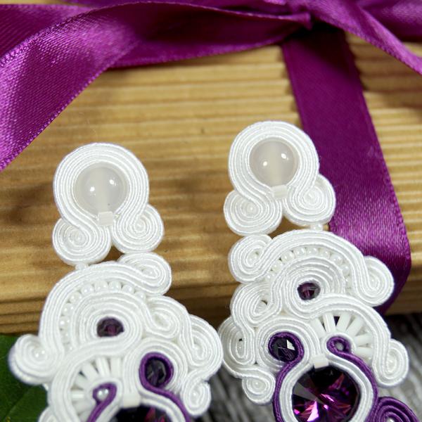 Kolczyki ślubne sutasz - white & purple ORCHID | Leśna Pracownia Biżuterii Ewa Wronka Eva Sutasz