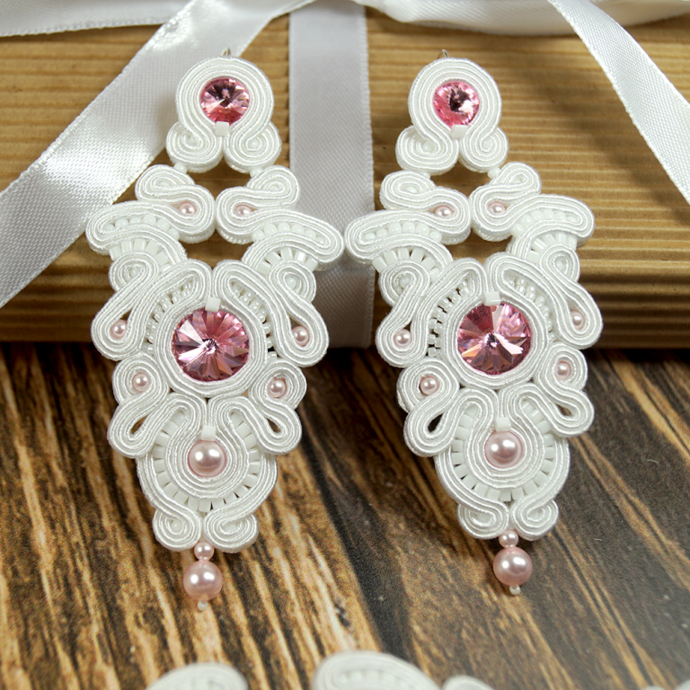 Kolczyki ślubne sutasz długie white & rose PEONY