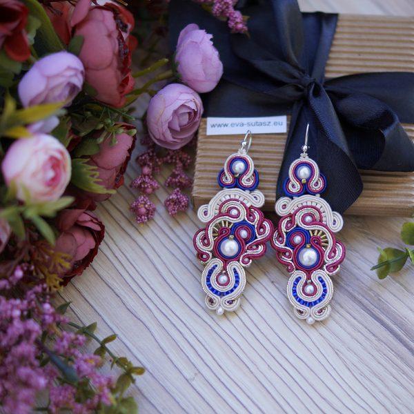 Kolczyki ślubne sutasz - pearl & fuchsia & cobalt ORCHID | Leśna Pracownia Biżuterii Ewa Wronka Eva Sutasz