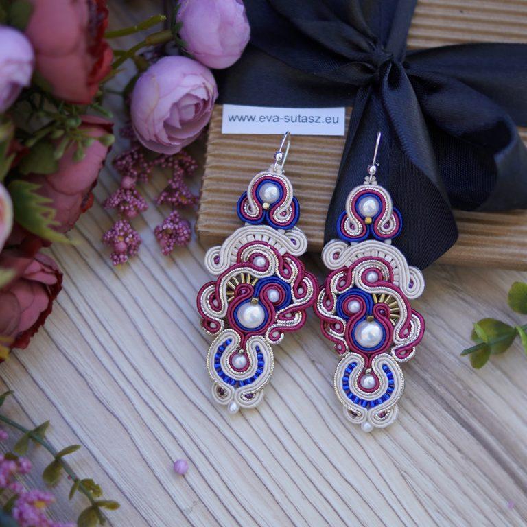 Kolczyki ślubne sutasz - pearl & fuchsia & cobalt ORCHID