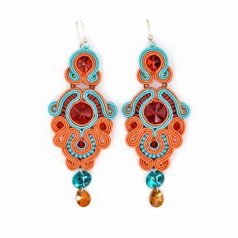Kolczyki sutasz orange & turquise PEONY Ewa Wronka Leśna Pracownia Biżuterii
