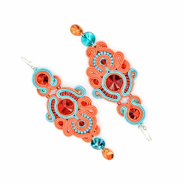 Kolczyki sutasz orange & turquise PEONY | Leśna Pracownia Biżuterii Ewa Wronka Eva Sutasz