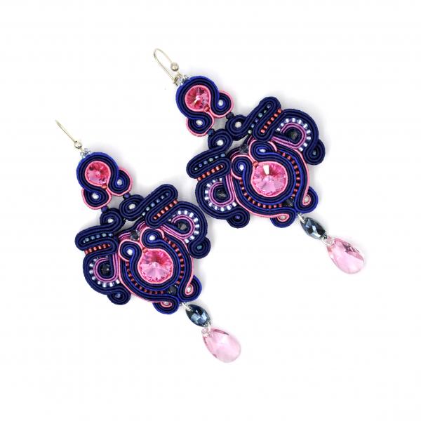 Kolczyki sutasz pink & dark blue MALLOW Eva Sutasz Leśna Pracownia Biżuterii Ewa Wronka