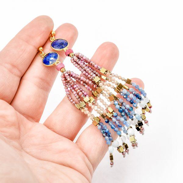 Kolczyki z naturalnych kamieni ruby, kyanite & sun stone SUBTLE STONES | Leśna Pracownia Biżuterii Ewa Wronka Eva Sutasz