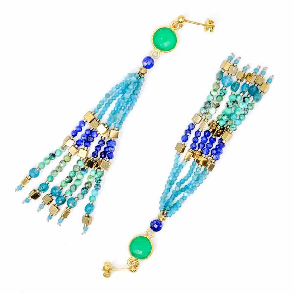 Kolczyki z naturalnych kamieni apatite, lapis lazuli & turquise SUBTLE STONES | Leśna Pracownia Biżuterii Ewa Wronka Eva Sutasz
