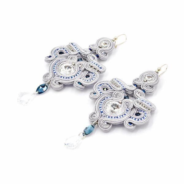 Kolczyki sutasz silver, blue & crystal MALLOW | Leśna Pracownia Biżuterii Ewa Wronka Eva Sutasz