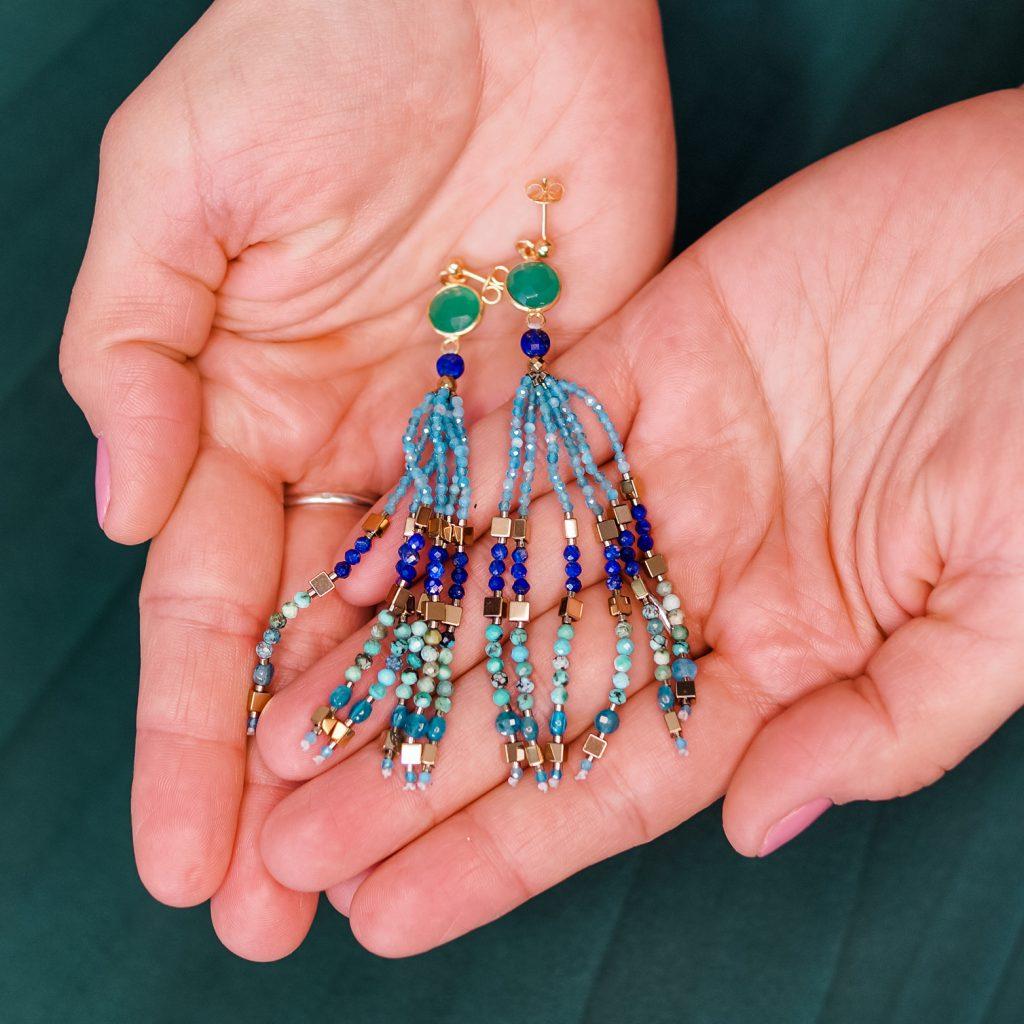 Kolczyki z naturalnych kamieni apatite, lapis lazuli & turquise SUBTLE STONES Leśna pracownia Ewa Wronka Eva Sutasz