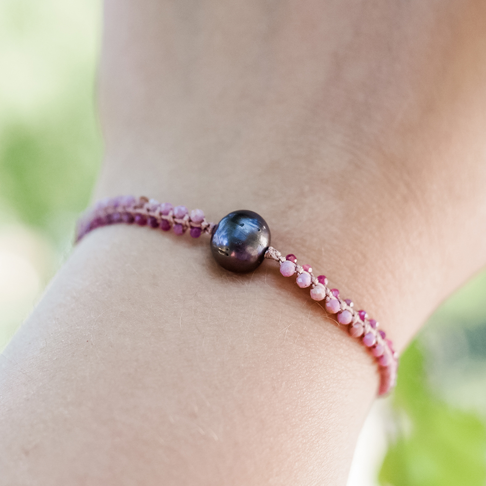 Bransoletka z kamieni naturalnych, rubin, fosfosyderyt i perła - SIŁA KOBIECOŚCI bransoletki z naturalnych kamieni