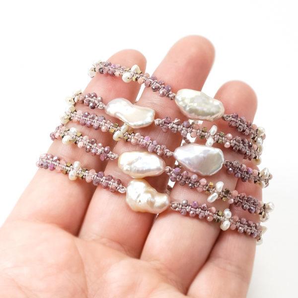 Bransoletka z kamieni naturalnych, rubin, kamień słoneczny, hematyt i perła – Siła Kobiecości 100% Polski wyrób