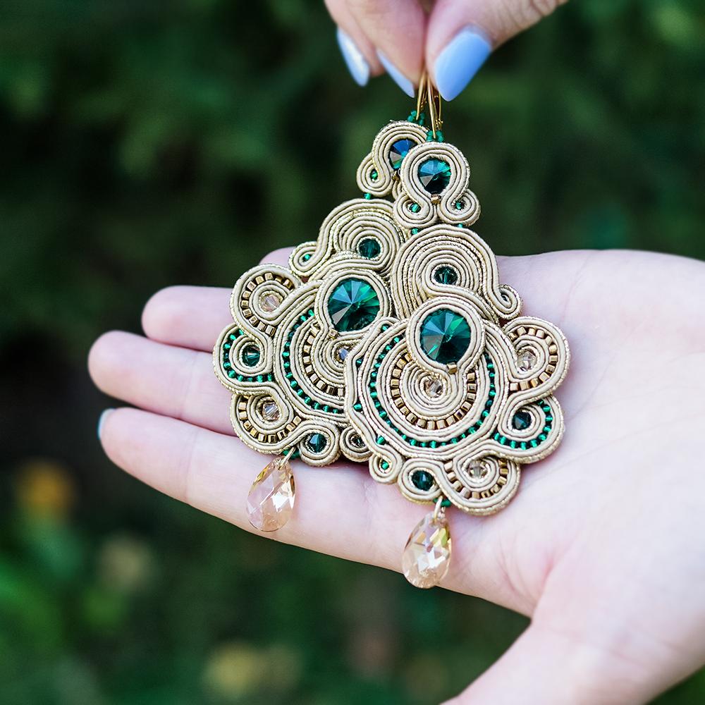 Kolczyki sutasz emerald & gold SUNFLOWER Eva Sutasz 100% wyrób z Polski
