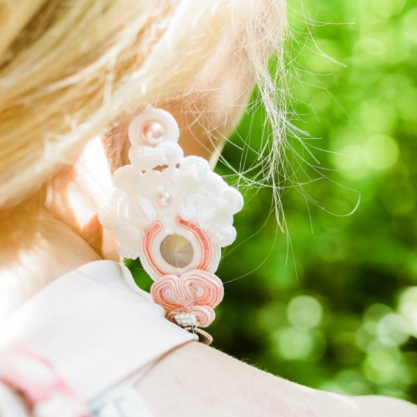 Kolczyki ślubne sutasz white, light pink & pearl ROSE Eva Sutasz 100% wyrób z Polski