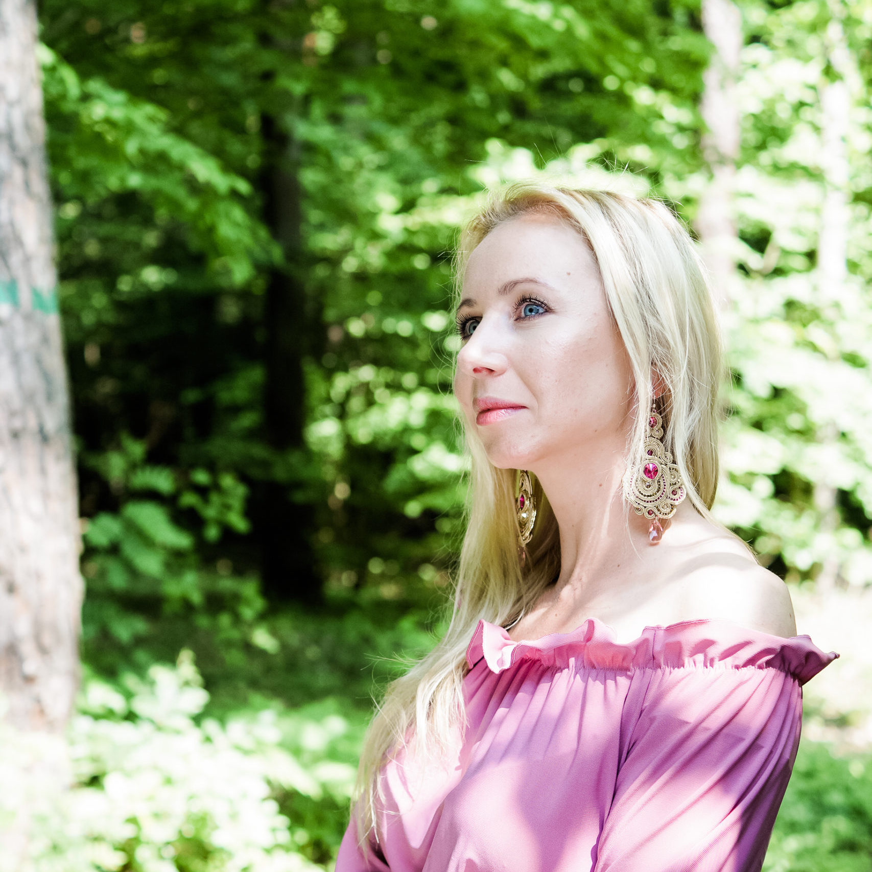 Kolczyki sutasz gold & pink SUNFLOWER Eva Sutasz 100% wyrób z Polski